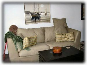 Pull out couch with fiberbed topper for comfort