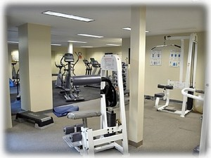 Fitness facility with weights and aerobic machines