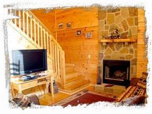 Living Room with 42 inch LCD TV,DVD, Cable & Wood Burning Fireplace