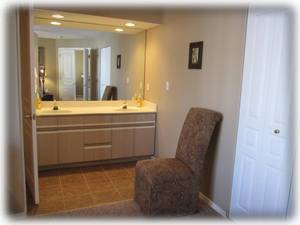 The dual sink vanity and walk in closet in the master bedroom
