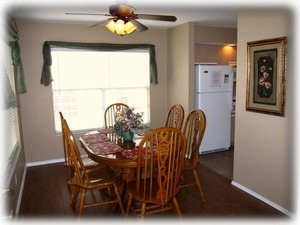 Features a private dining room away from the living room