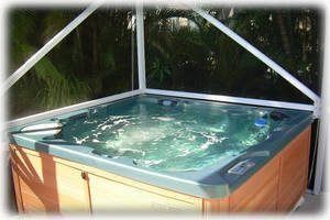 Deluxe Hot Tub with Waterfall & Colored LED Lights