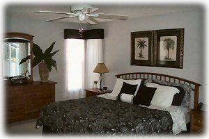 King size master bedroom with balcony access-enjoy morning coffee on the patio