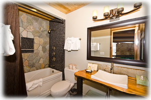 One of 4 Splendid Bathrooms.  Rustic Pine counters, waterfall features.