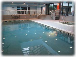 Indoor pool and spa in SW tower for year round use