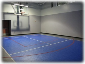 Indoor sports court at Harbor Steps - check out equipment at front desk