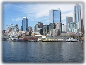 Walk a block to catch ferry for this Seattle skyline view
