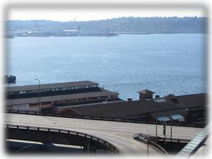 See the waters of Elliott Bay from your balcony