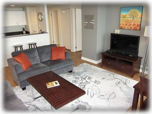 40 inch LED TV.  Up-to-date furnishings and decor