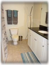 Newly remodeled bathroom.  Plenty of space and granite counters