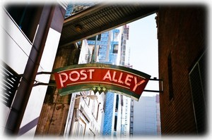 Seattle's famous Post Alley runs right through the Harbor Steps towers