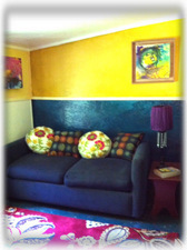 "Our ""hippy"" throwback with a flair...bedroom with sofa/double bed!"