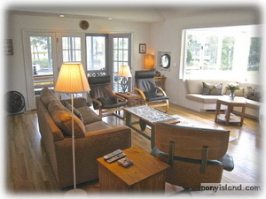 Great room with real Porthole and Water Views - See Assateague