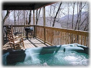 Lg covered porch-Hot Tub, rocking chairs, & view