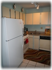 Kitchen has Refridgerator w ice maker, gas range, and microwave